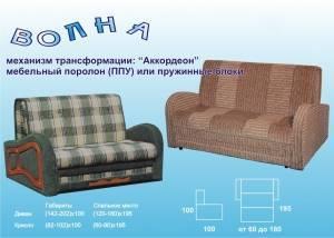 Маленький диван аккордеон Волна