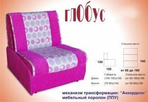 Маленький диван аккордеон Глобус