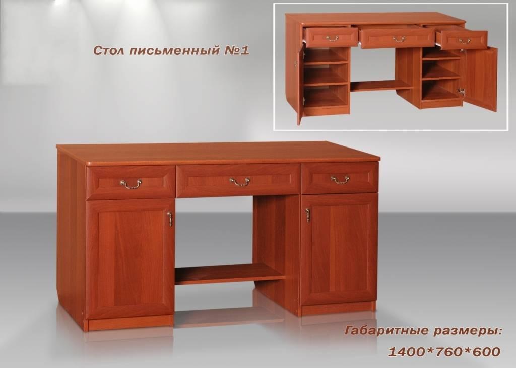Купить недорого компьютерный стол для дома с полками и ящика.